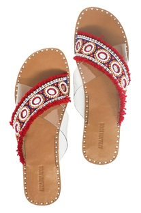 Red tassel & bead embellished criss-cross sandals