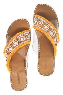 Orange & beige cross-criss flat sandals