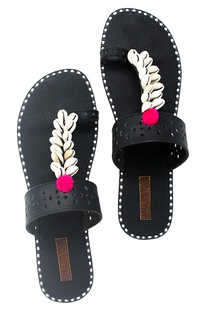Black shell work kolapuri sandals