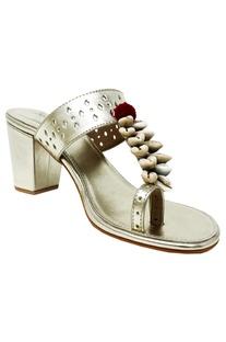 Metallic silver heel sandals