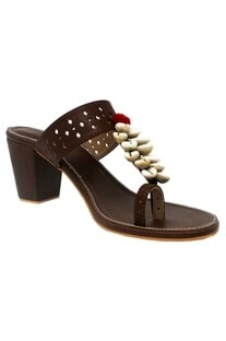 Brown cobian strap heel sandals
