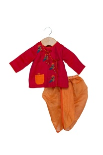 Red & orange cotton silk hand embroidered anghrakha with dhoti