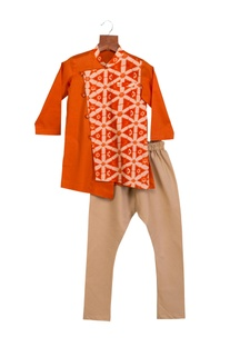 Orange cotton silk one side printed kurta with chudidar