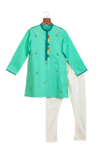 Sea green cotton silk embroidered kurta with chudidar