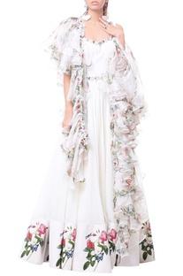 White anarkali gown with ruffle organza dupatta