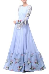Powder blue georgette & organza tassel detail gown