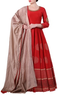 Red cotton silk block print anarkali kurta with beige cotton silk dupatta