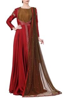 Maroon cotton silk zari work jacket with olive inner and net dupatta