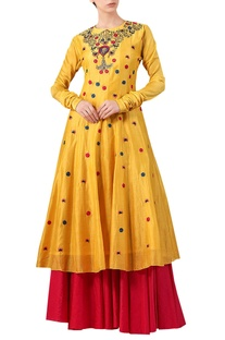 Yellow cotton silk zari & thread embroidered kurta with red cotton palazzos