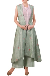 Teal blue raw silk thread embroidered jacket with palazzos & pink inner