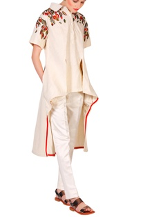 Beige cotton silk thread & zari embroidered high-low kurta with churidar pants