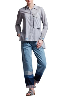 Grey cotton regular side slit & patchwork shirt