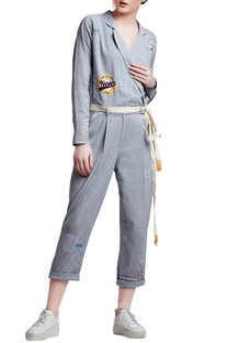 Grey cotton regular slogan & patchwork jumpsuit