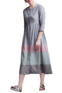 Multi-colored cotton regular side gathered & floral hand embroidered dress