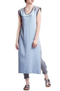 Light blue & grey cotton regular embroidered slogan shift dress