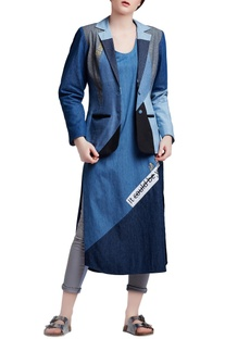 Blue denim regular paneled & embroidered blazer