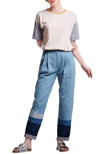 Blue denim regular slogan & pleated pants