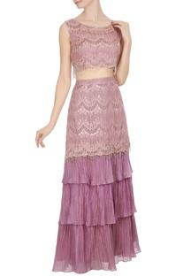 Pink & mauve  lace & frill scalloped fringed blouse with fish tail lehenga