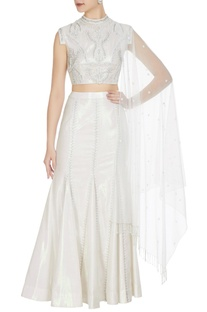 Holographic white & silver rainbow fabric crop top with fish tail long skirt & stole