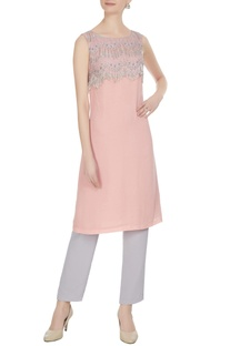 Pink & silver royal georgette & lace block tunic with fringes