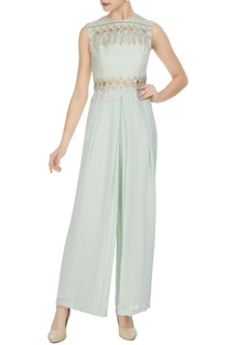 Light blue royal georgette geometric cut work jumpsuit