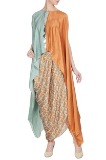 Sea green & orange linen silk dual color zig-zag kaftan blouse