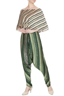 Green cotton silk printed cowl pants