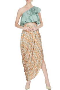 Mint green linen silk printed ruffle crop top
