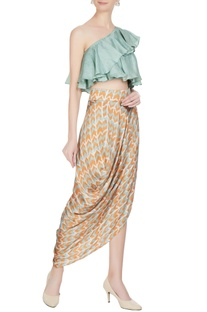 Orange & blue cotton satin printed drape skirt