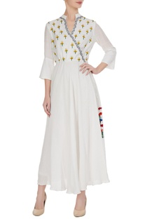 Angrakha dress in floral machine & hand embroidery
