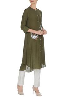 Linen silk floral hand & machine embroidered kurta