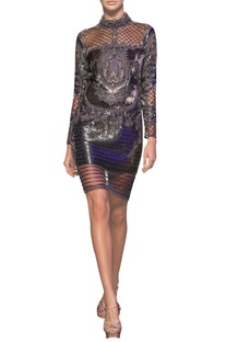 Metallic grey tulle net beaded short armour dress