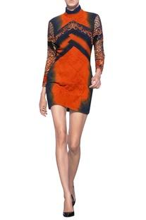 Orange & blue chiffon & tulle net embellished short dress