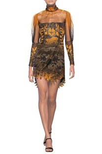 Mustard & black tulle net floral satin applique short dress