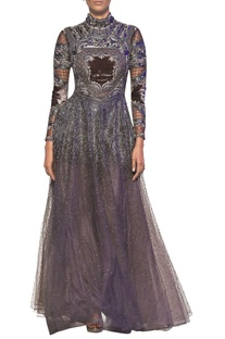Mouse grey tulle net velvet hand cut applique gown