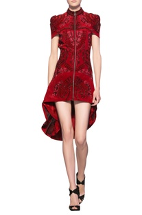 Rose red silk crepe hand crafted french knots short jacket dress