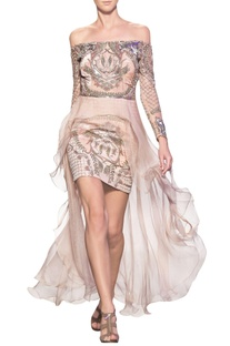 Nude pink tulle net, silk crepe & silk organza hand embroidered off-shoulder short dress
