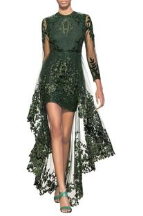 Bottle green & forest green tulle net embellished overlap dress