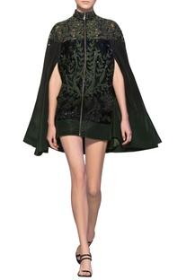 Bottle green & black tulle net & silk crepe applique short jacket cape dress