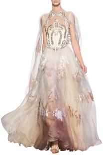 Ivory & beige silk organza & velvet applique gown with cape detailing at the shoulder