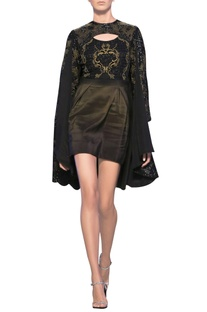 Acid green tulle & silk crepe french knot cape dress