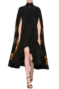 Black & ochre silk crepe applique high-low cape dress