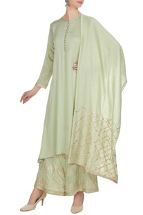 Pista green cotton satin & chanderi hand embroidered a-line kurta with palazzos & dupatta