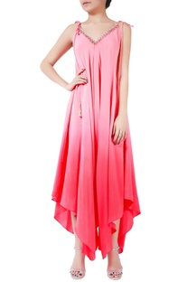 Pink ombre handmade crepe silk bugle bead jumpsuit