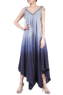 Grey ombre crepe silk dhoti jumpsuit