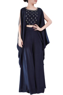 Black crepe silk bugle bead embellished cape sleeve blouse with pants
