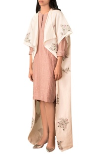 Ivory scribble motif hand embroidered kimono jacket