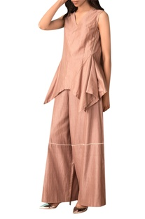 Taupe hand woven cotton silk wide legged pants