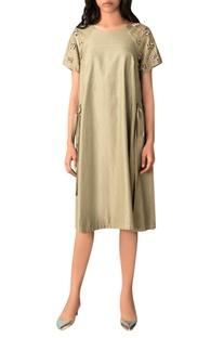 Moss green hand woven cotton silk a-line dress