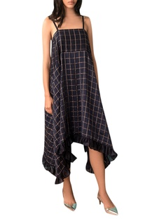 Navy blue zari checkered slip dress